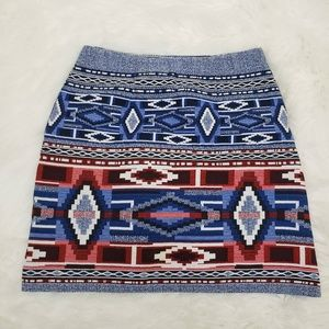 Karen Kane Side Zip Linen Aztec Pencil Skirt Blue